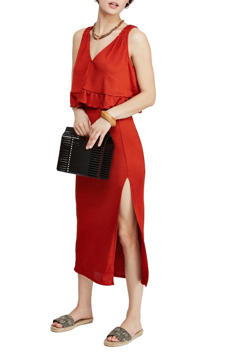 FREE PEOPLE No Excuses Two-Piece Ribbed Dress, Main, color, 600