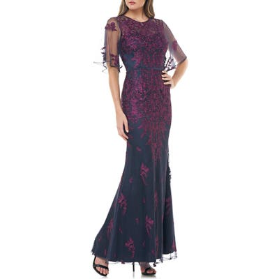 Js Collections Floral Embroidered Evening Gown, Purple