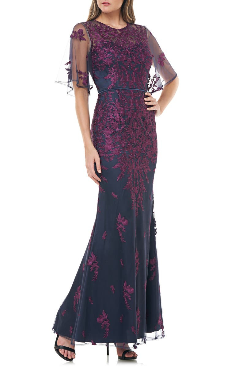 JS COLLECTIONS Floral Embroidered Evening Dress, Main, color, PLUM NAVY