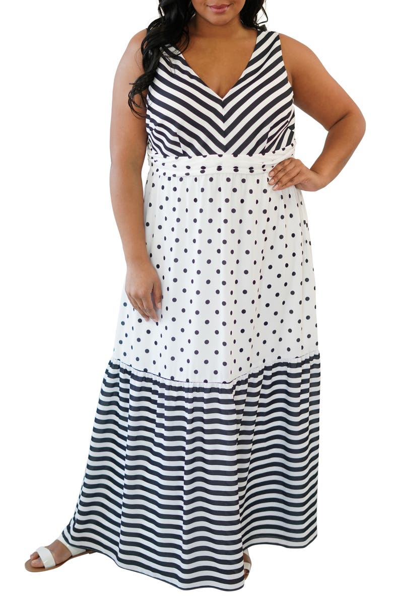 MARÉE POUR TOI Dot & Stripe Maxi Dress, Main, color, BLACK/ WHITE