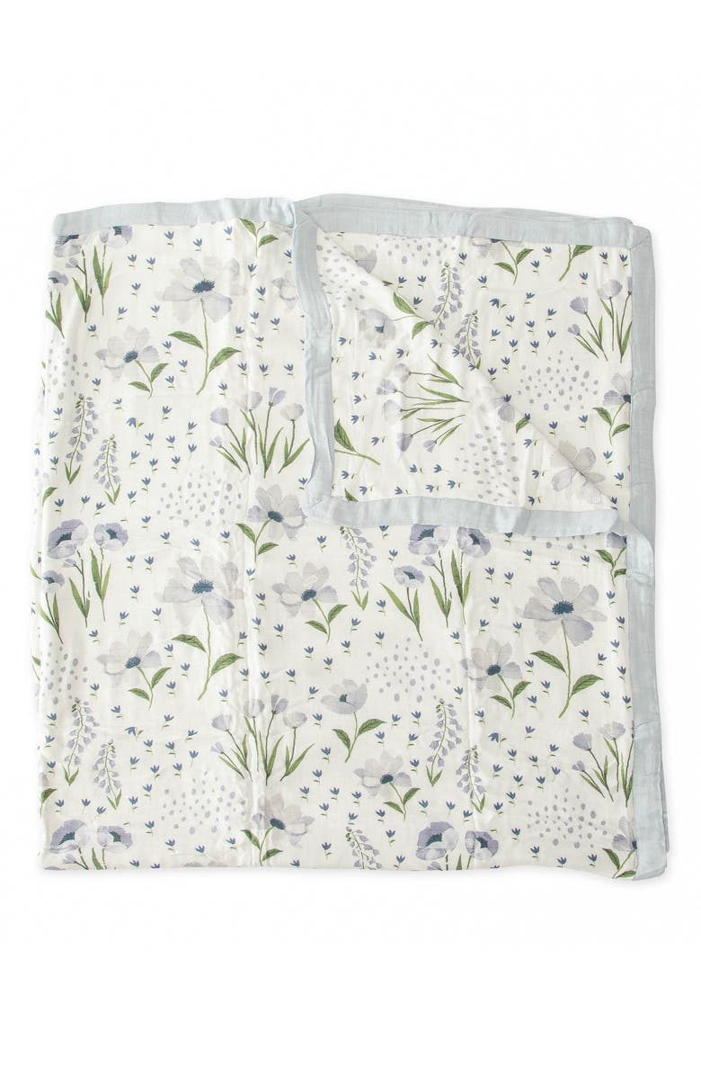 LITTLE UNICORN Deluxe Muslin Quilt, Main, color, BLUE WINDFLOWER