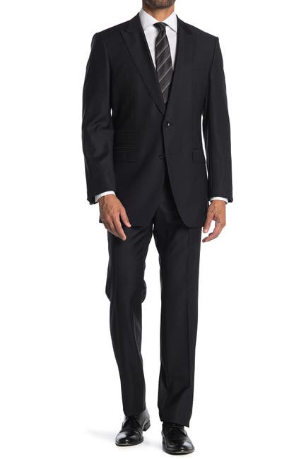 Image of BOSS Black Pinstripe Two Button Notch Lapel Wool Suit