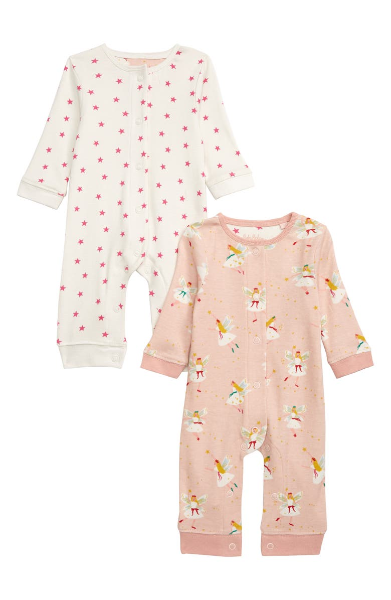 MINI BODEN 2-Pack Cotton Rompers, Main, color, PINK PROVENCE/ FAIRIES