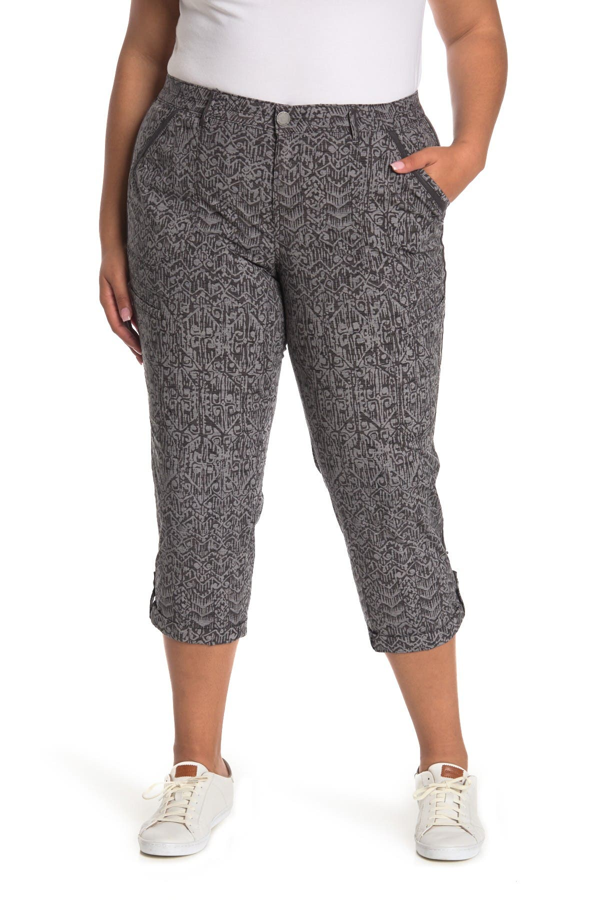 Image of Democracy Cuffed Printed Ankle Pants