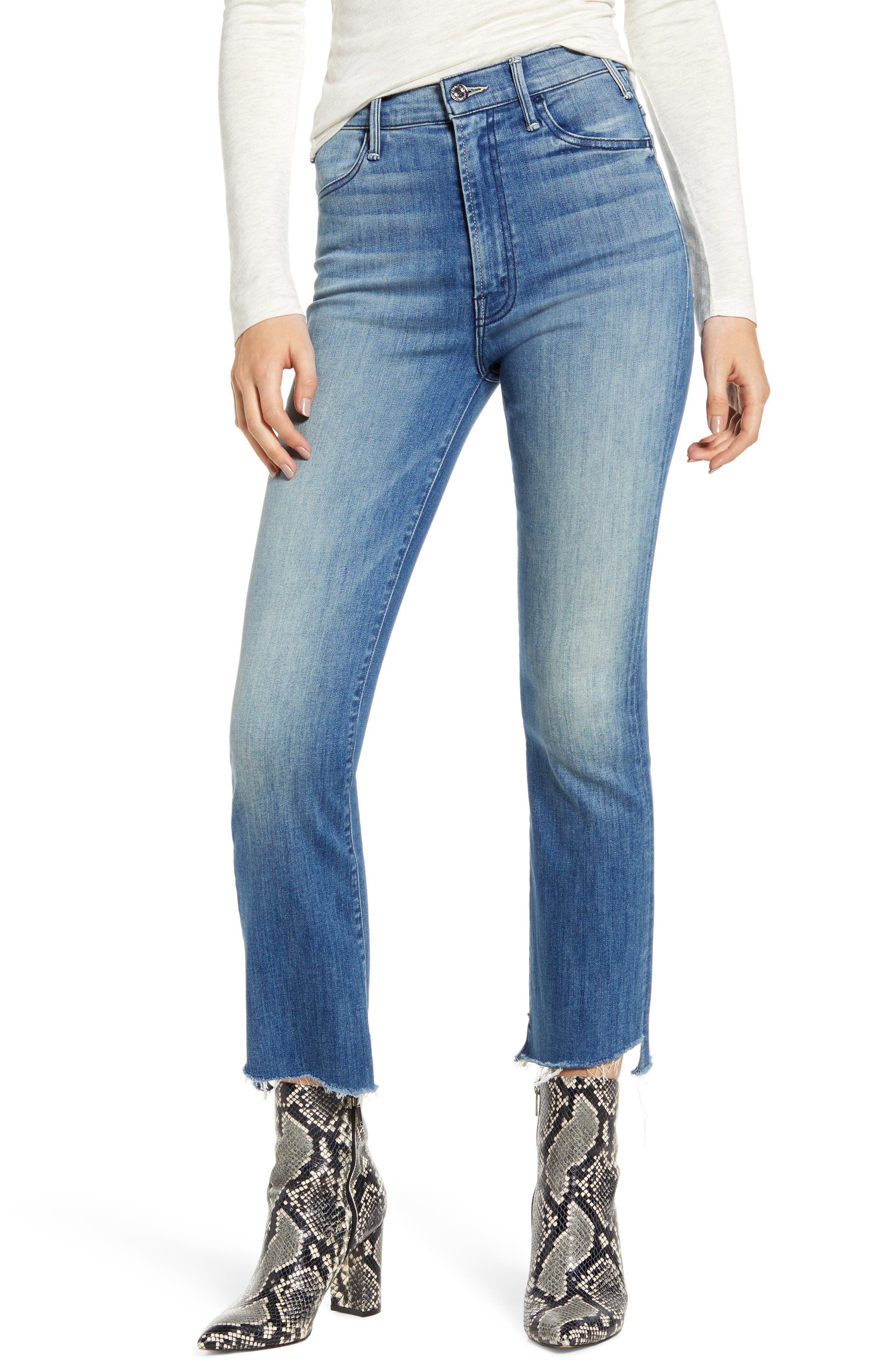 MOTHER The Hustler Two Step Fray High Waist Ankle Bootcut Jeans (Thunderstruck)