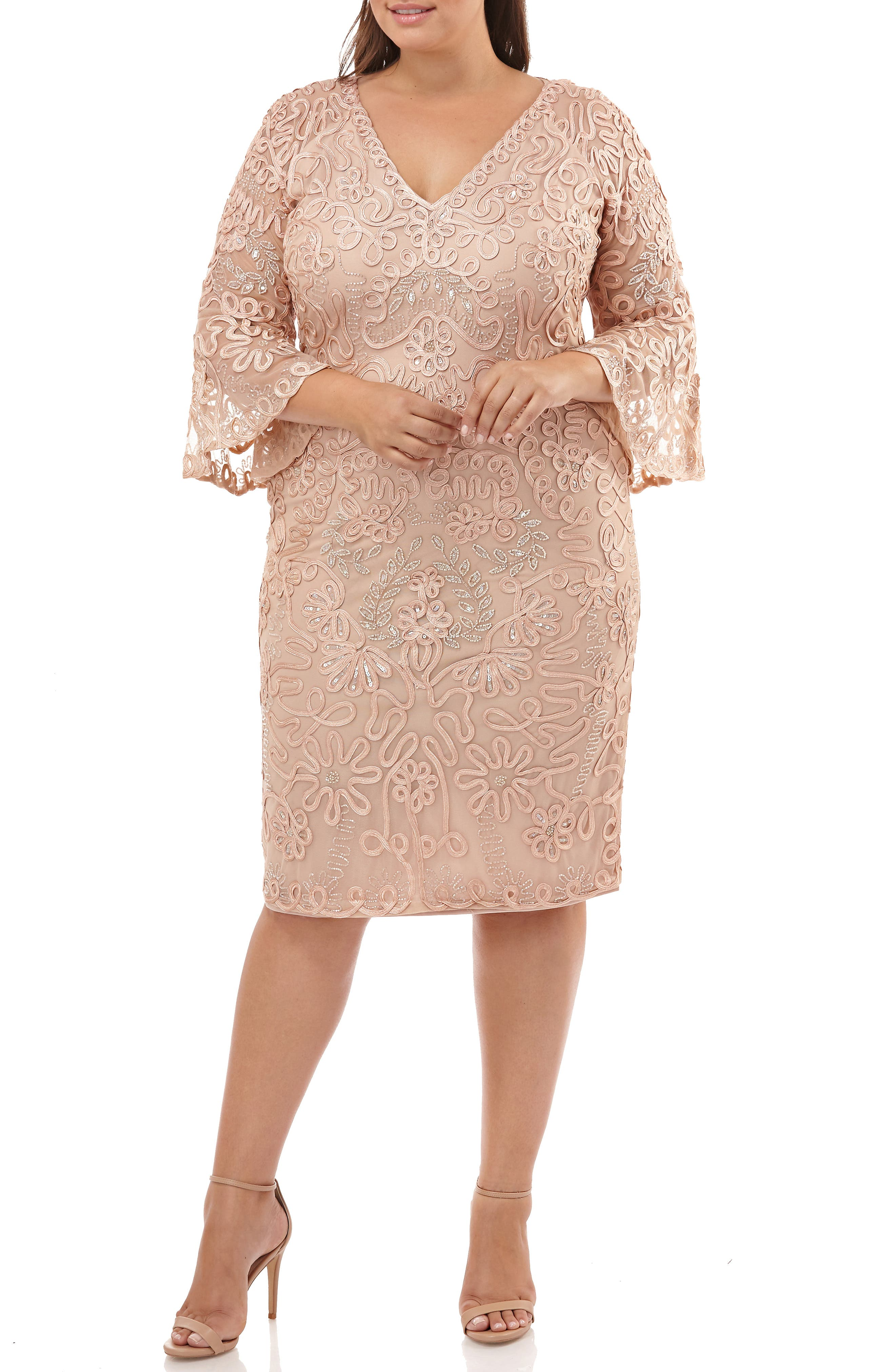,                             Bell Sleeve Mesh Shift Dress,                             Alternate thumbnail 6, color,                             PINK TAUPE