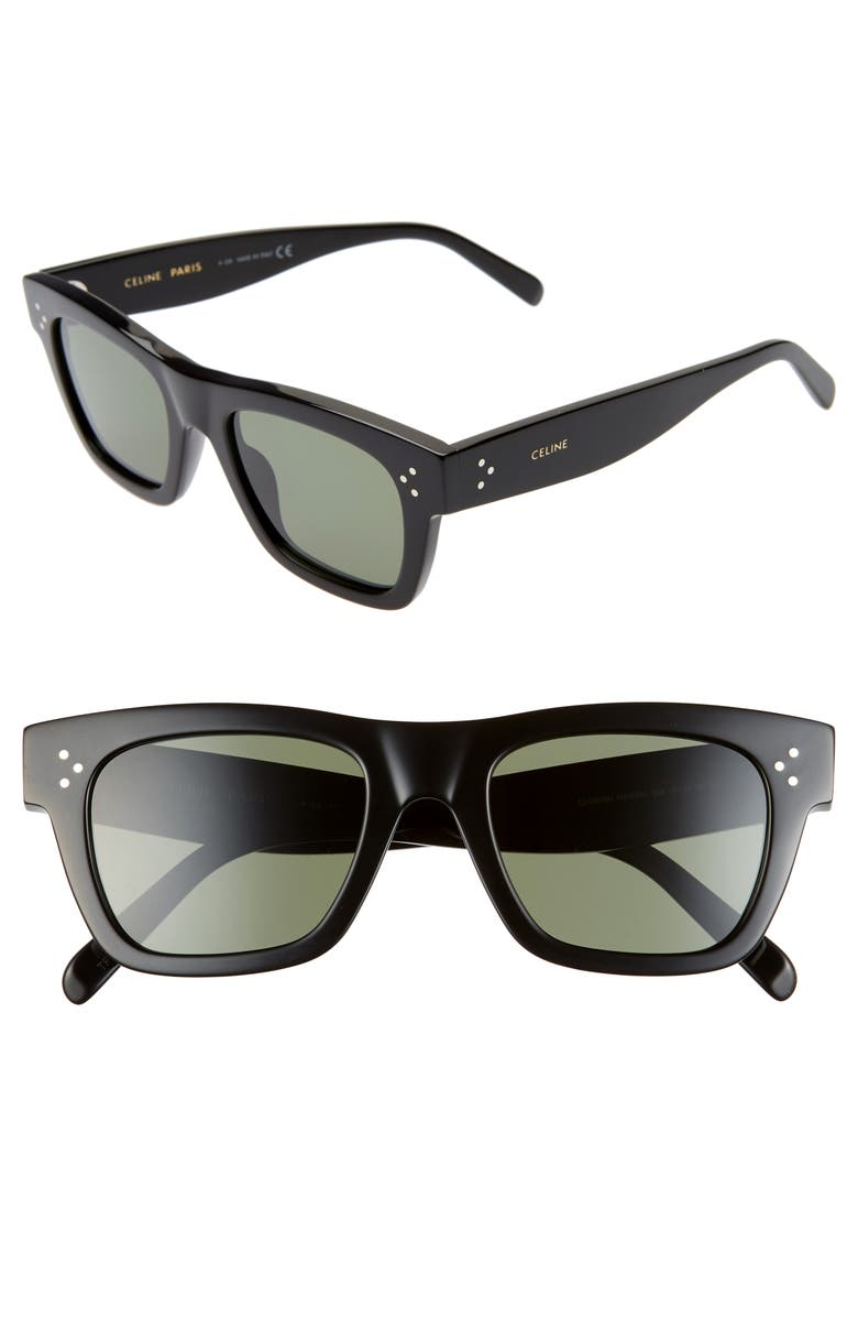 CELINE 51mm Rectangle Sunglasses, Main, color, SHINY BLACK