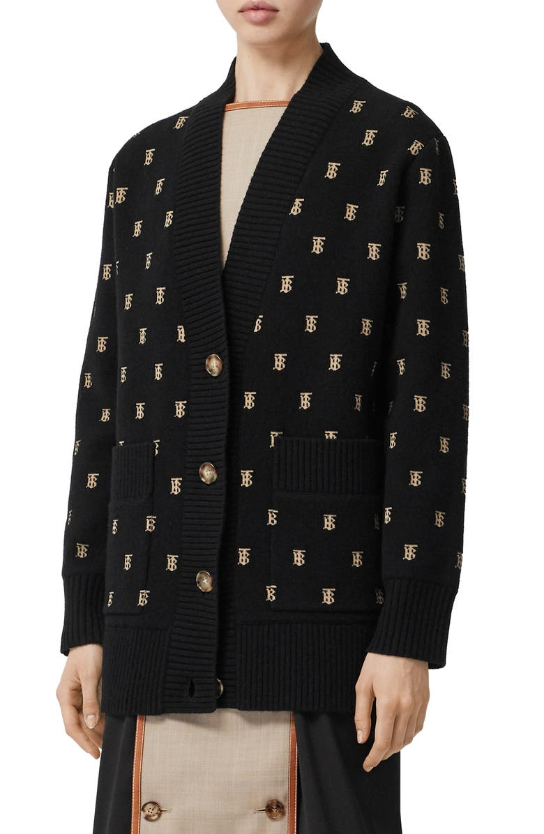 BURBERRY Palena TB Jacquard Cardigan, Main, color, BLACK