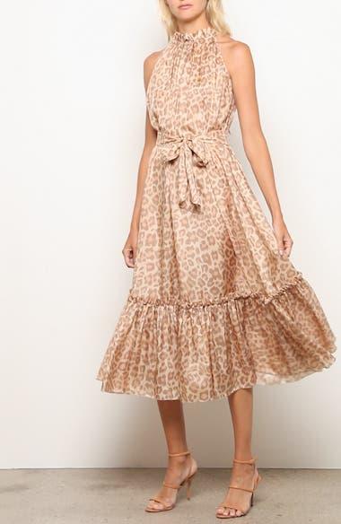 Kirra Leopard Print Ruffle Silk Midi Dress, video thumbnail