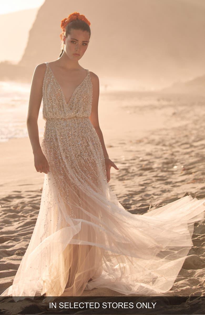 WILLOWBY Celestial Embellished Wedding Dress, Main, color, IVORY/NUDE