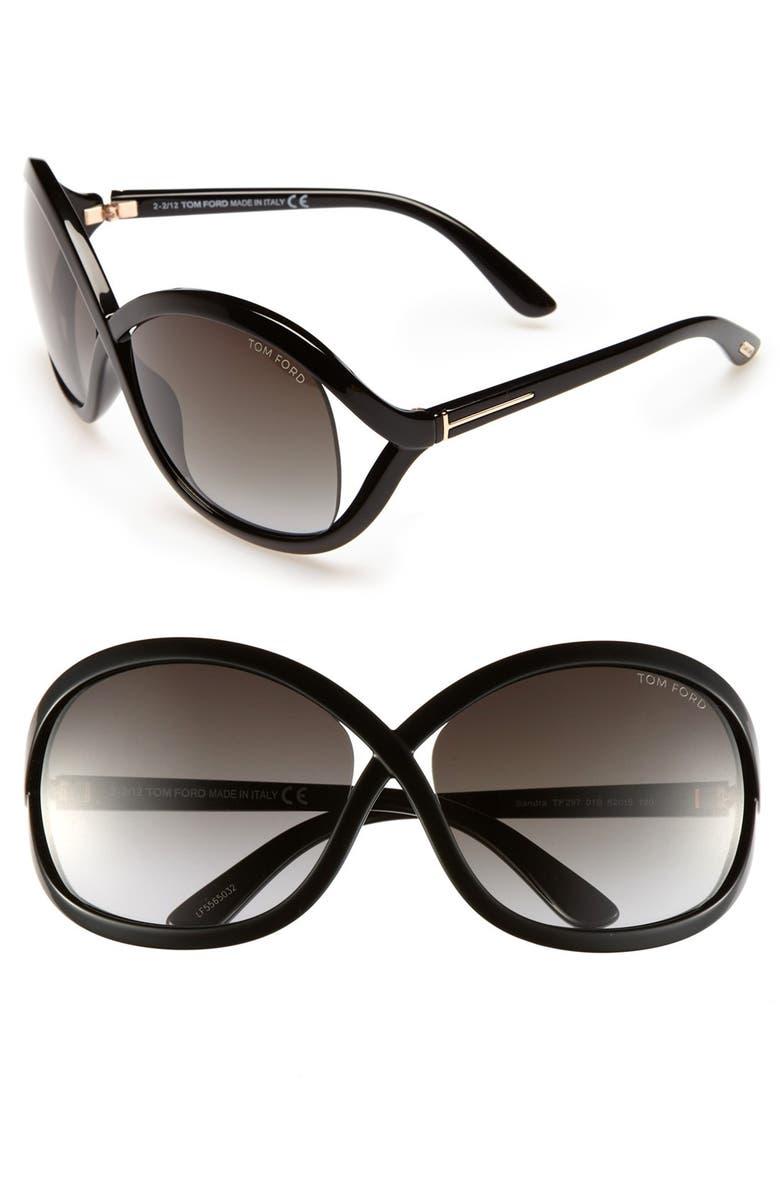 TOM FORD 'Sandra' 62mm Sunglasses, Main, color, 001