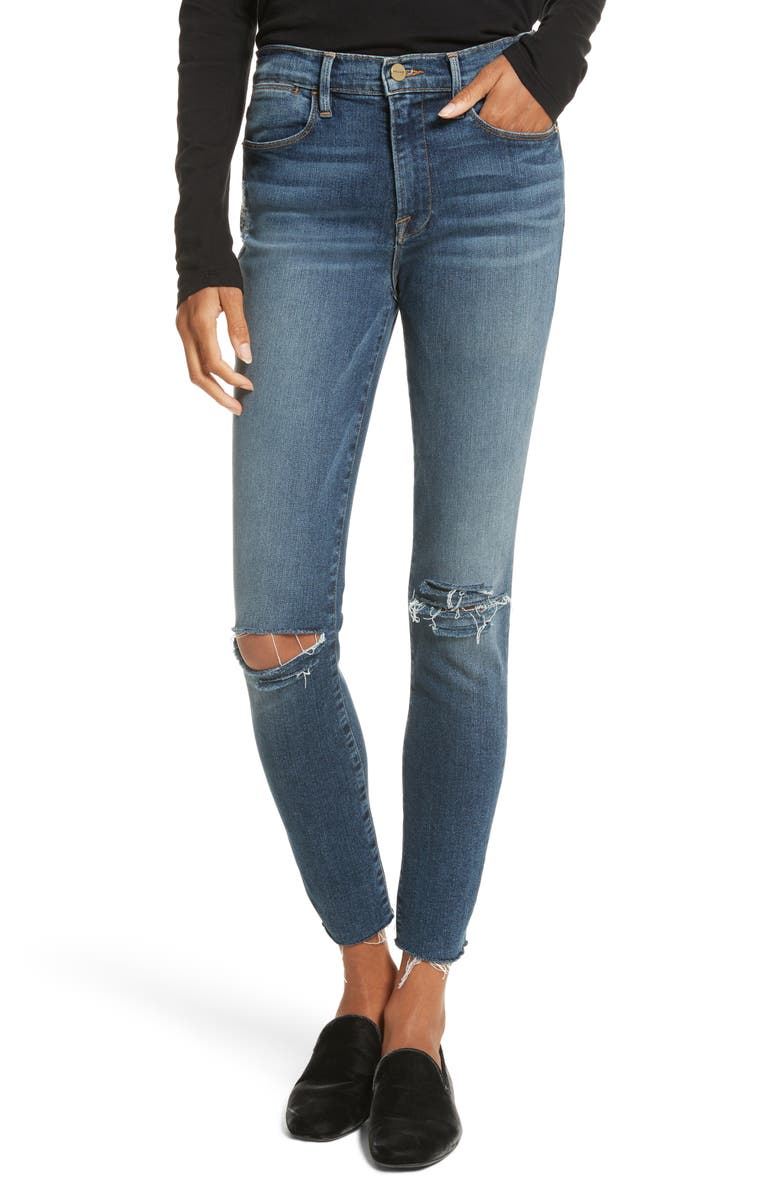 FRAME Le High Raw Hem Skinny Jeans, Main, color, 420