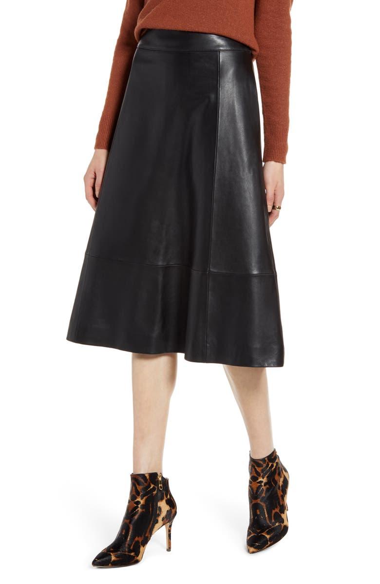 HALOGEN<SUP>®</SUP> A-Line Leather Midi Skirt, Main, color, BLACK