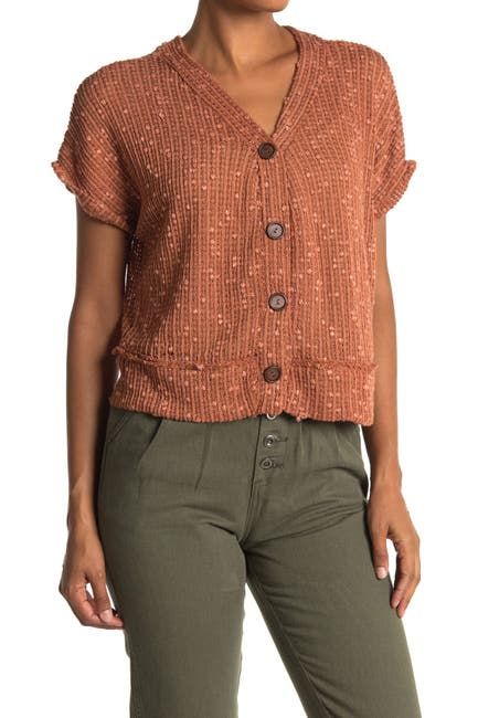 Image of Blu Pepper Short Sleeve Button Front Knit Top