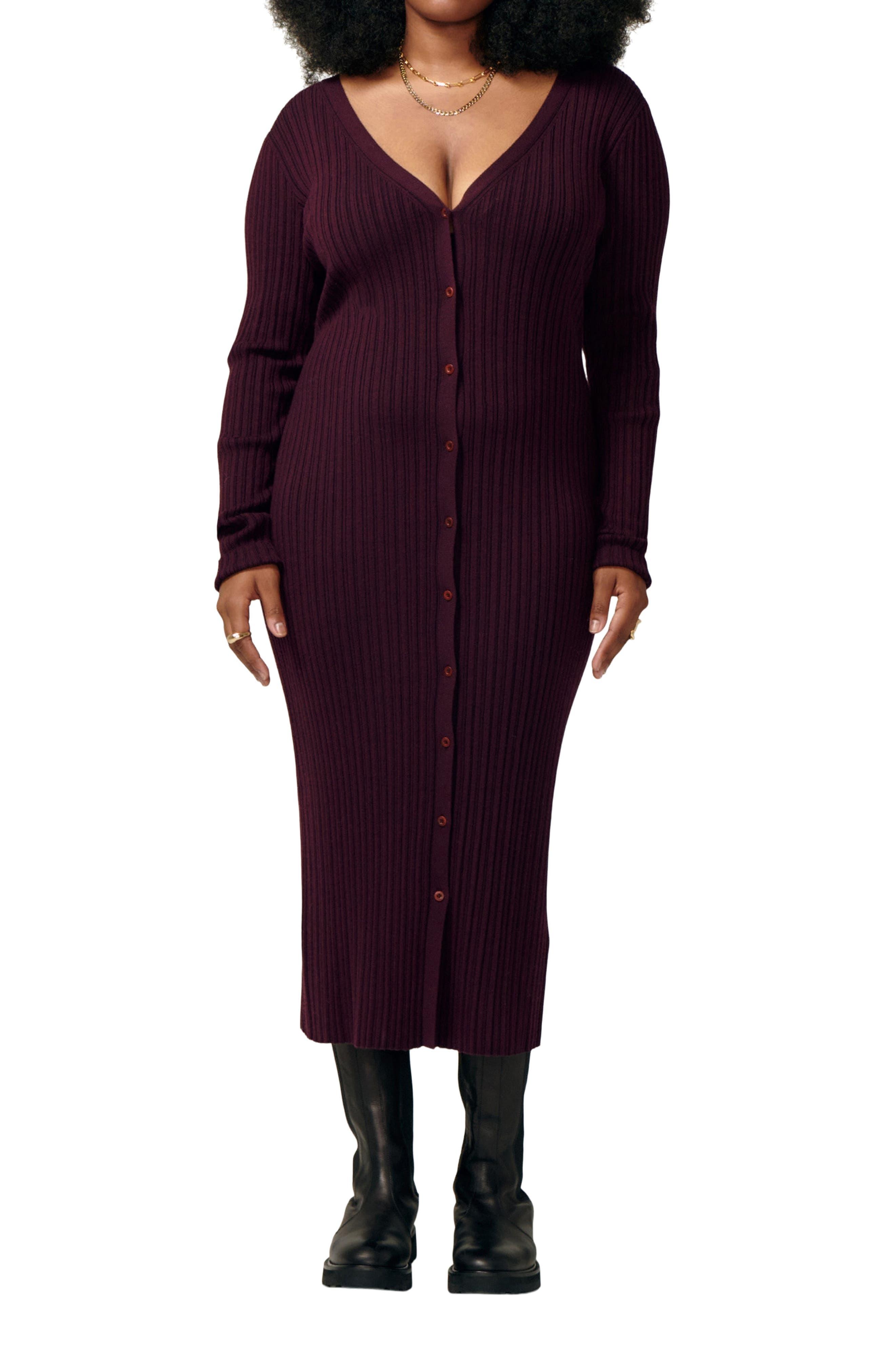 Icon Long Sleeve Wool Blend Dress
