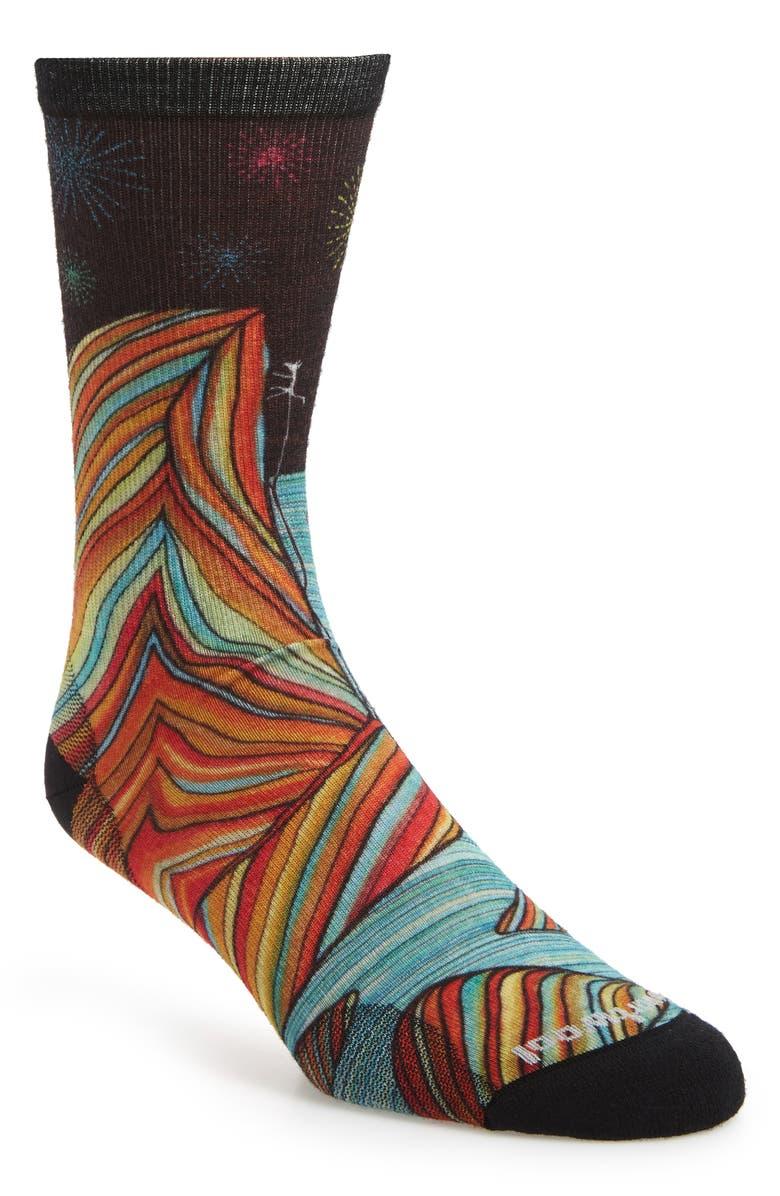 SMARTWOOL Curated Rainbow Mountain Climb Crew Socks, Main, color, BLACK