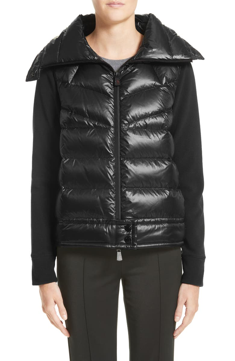 MONCLER Quilted Down Front Cardigan, Main, color, 001