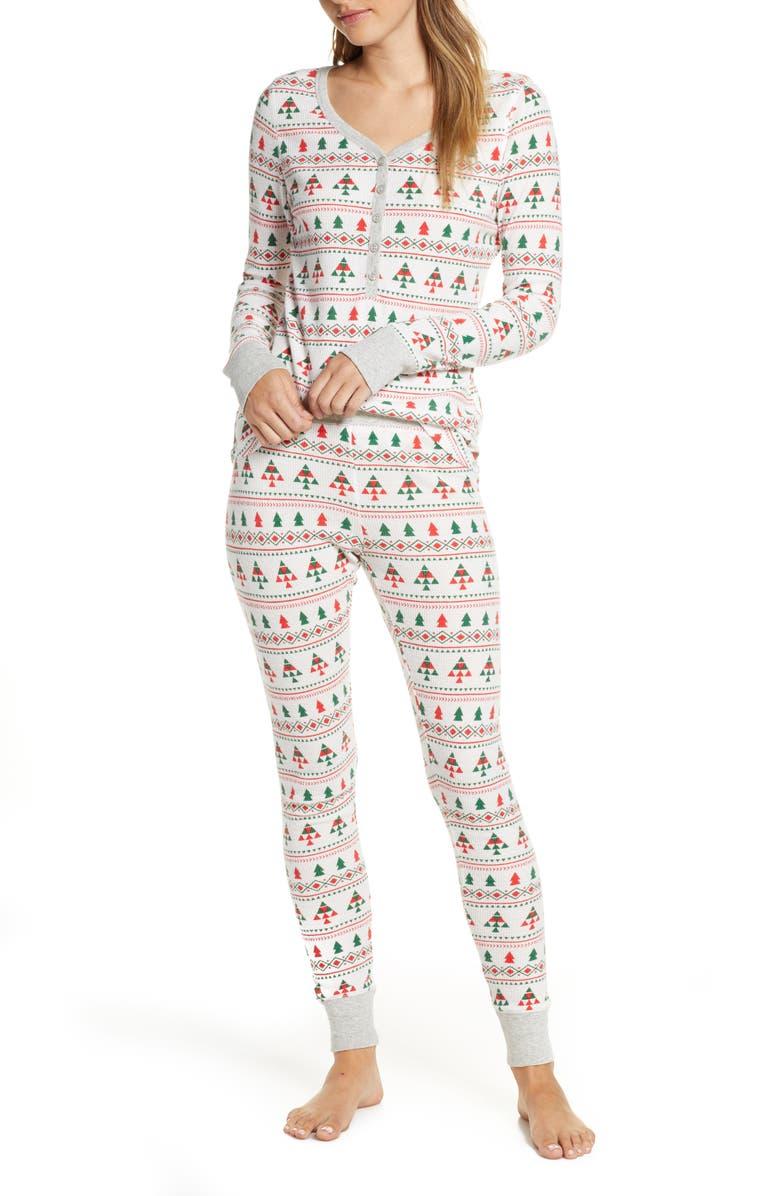 NORDSTROM Thermal Pajamas, Main, color, IVORY EGRET FAIRISLE