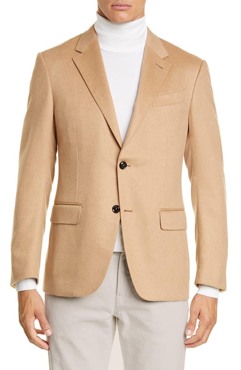 ERMENEGILDO ZEGNA Milano Classic Fit Solid Camel Hair Sport Coat, Main, color, CAMEL