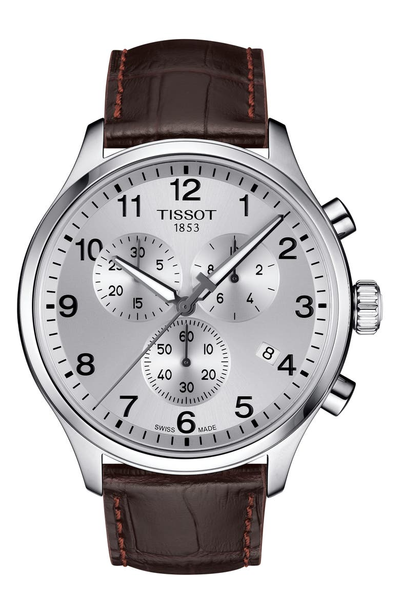 TISSOT Chrono XL Collection Chronograph Leather Strap Watch, 45mm, Main, color, BROWN/ SILVER