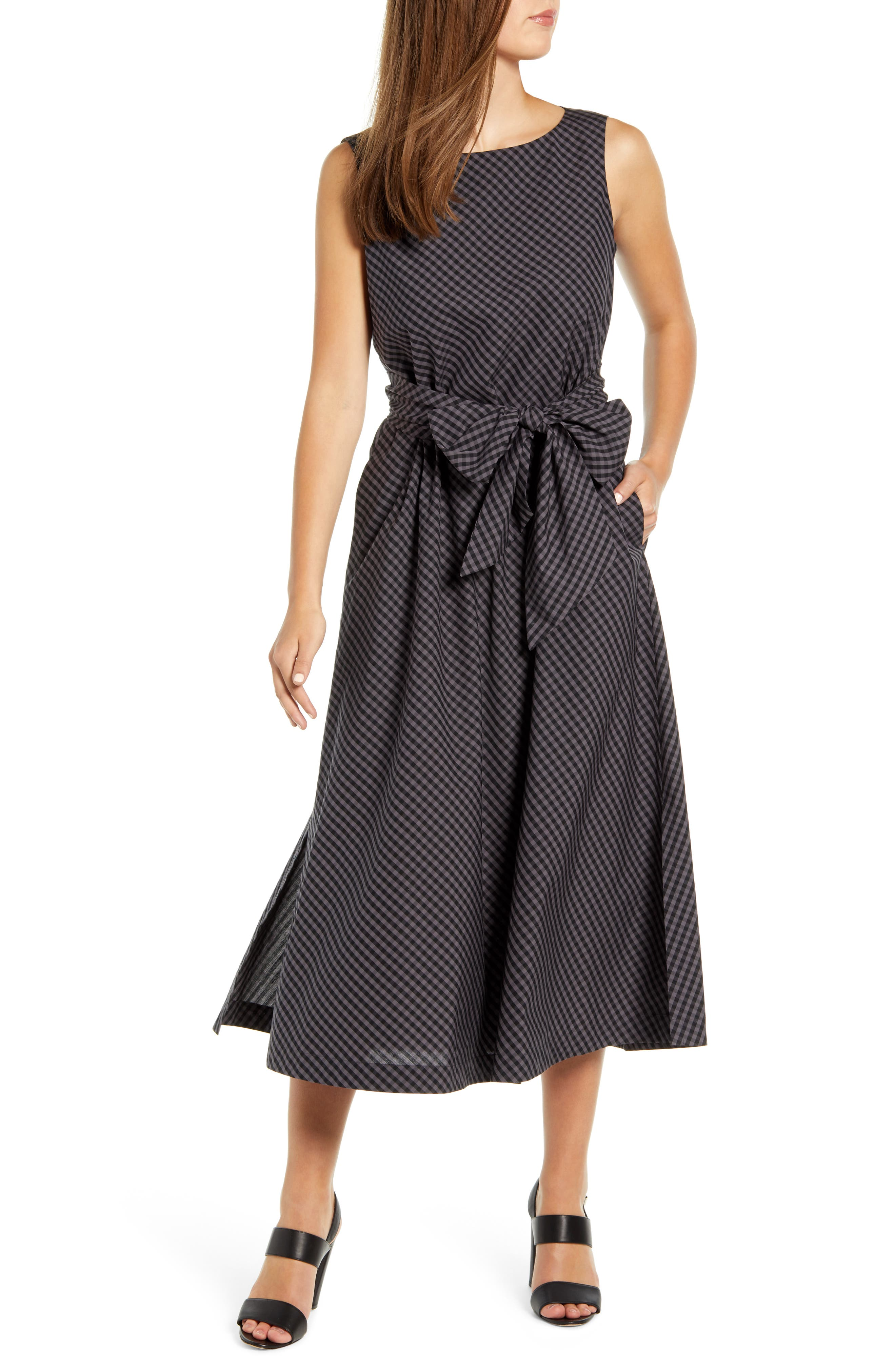 Anne Klein Check Cotton Midi Dress, Grey