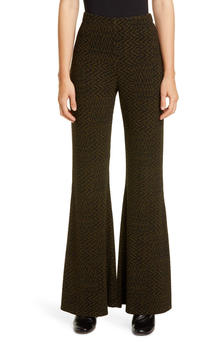 BEAUFILLE Riva Tiled Chevron Knit Flare Pants, Main, color, GREEN AND BLACK