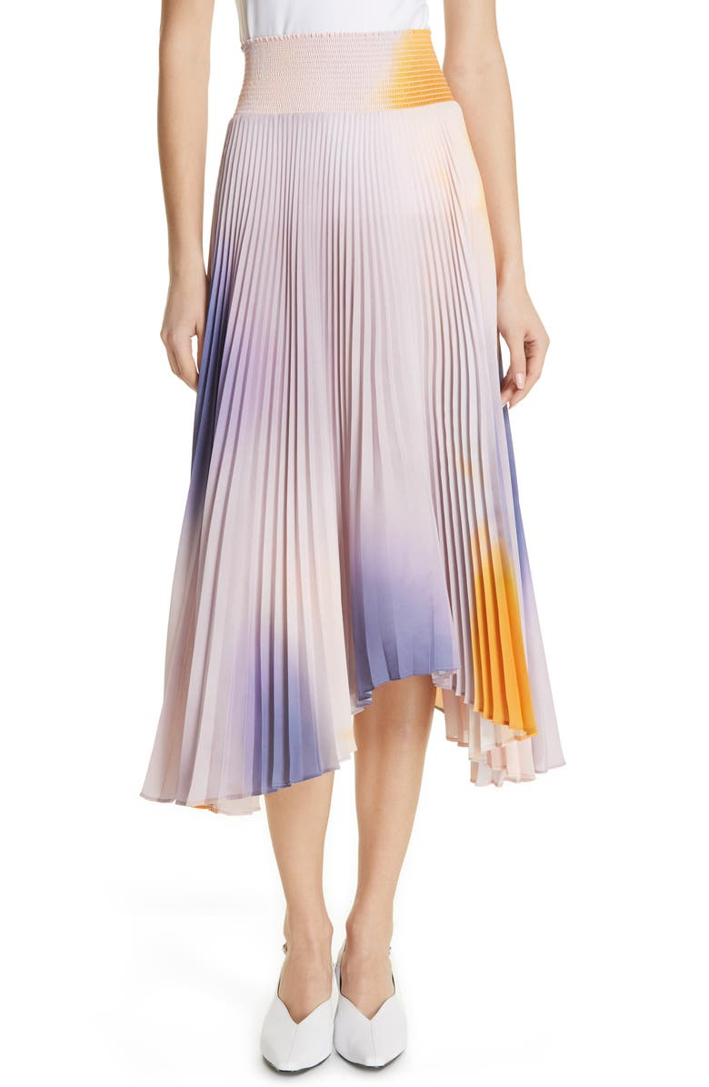 A.L.C. Sonali Dip Dye Shark Bite Hem Skirt, Main, color, 001