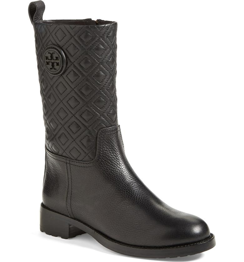 TORY BURCH 'Marion' Quilted Shaft Leather Boot, Main, color, Black