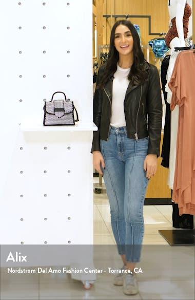 Mini Studded Faux Leather Top Handle Satchel, sales video thumbnail