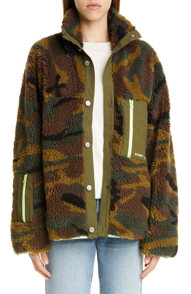 SANDY LIANG Rory Camo Print Fleece Jacket, Main, color, CAMO