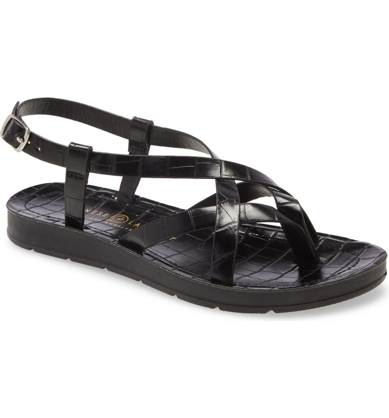 CHINESE LAUNDRY Kray Sandal, Main, color, BLACK FAUX LEATHER
