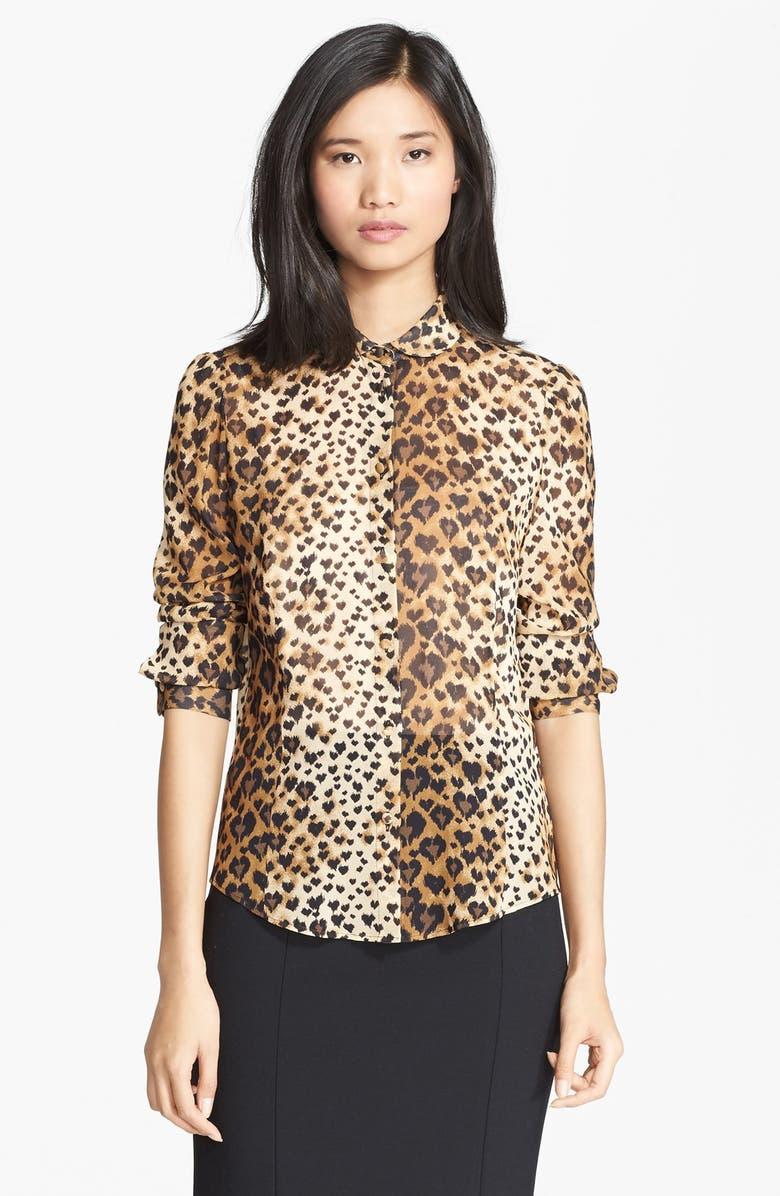 RED VALENTINO Leopard Print Stretch Silk Blouse, Main, color, 250