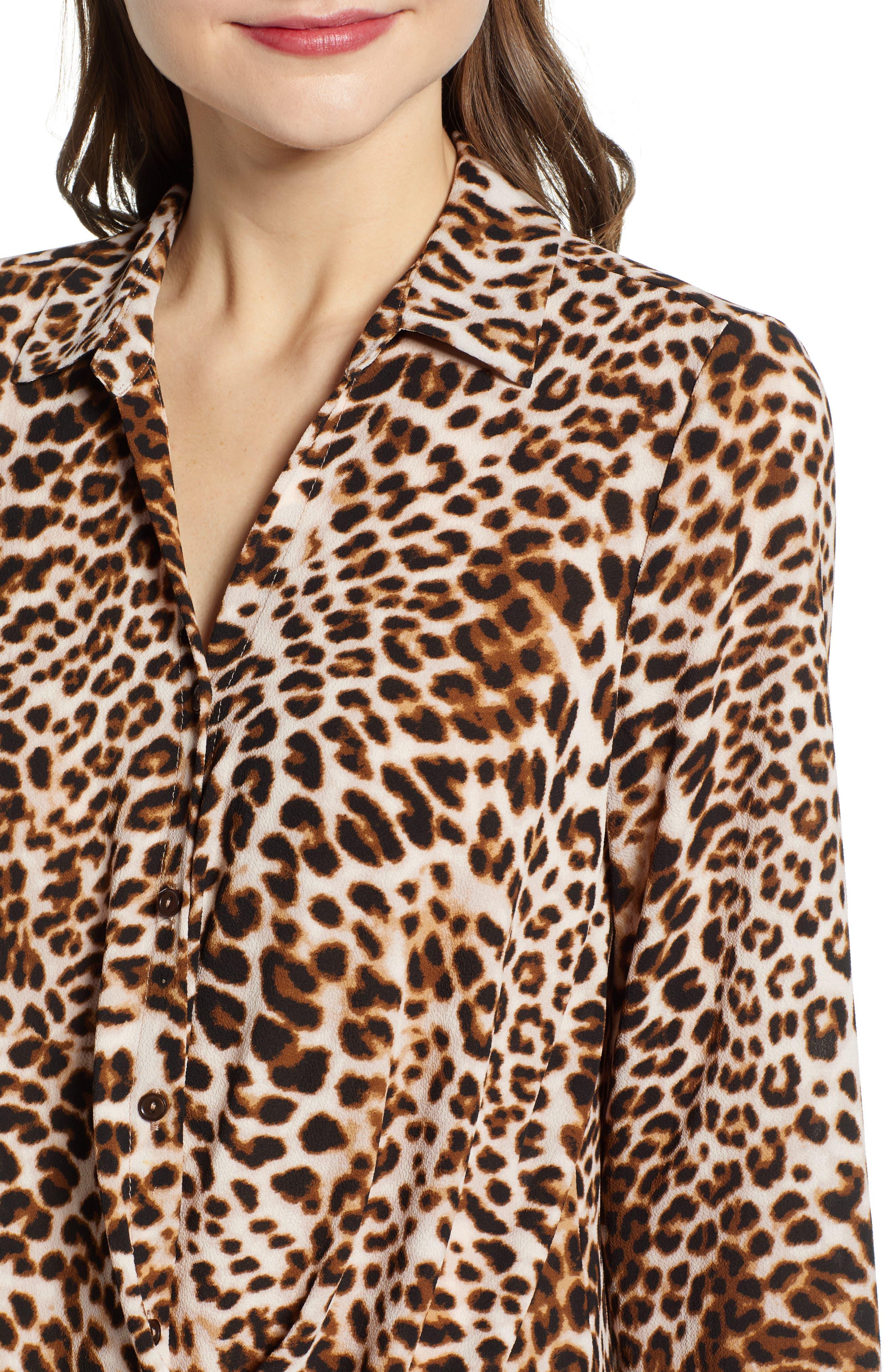 ,                             Patterned Drape Front Blouse,                             Alternate thumbnail 4, color,                             LEOPARD PRINT