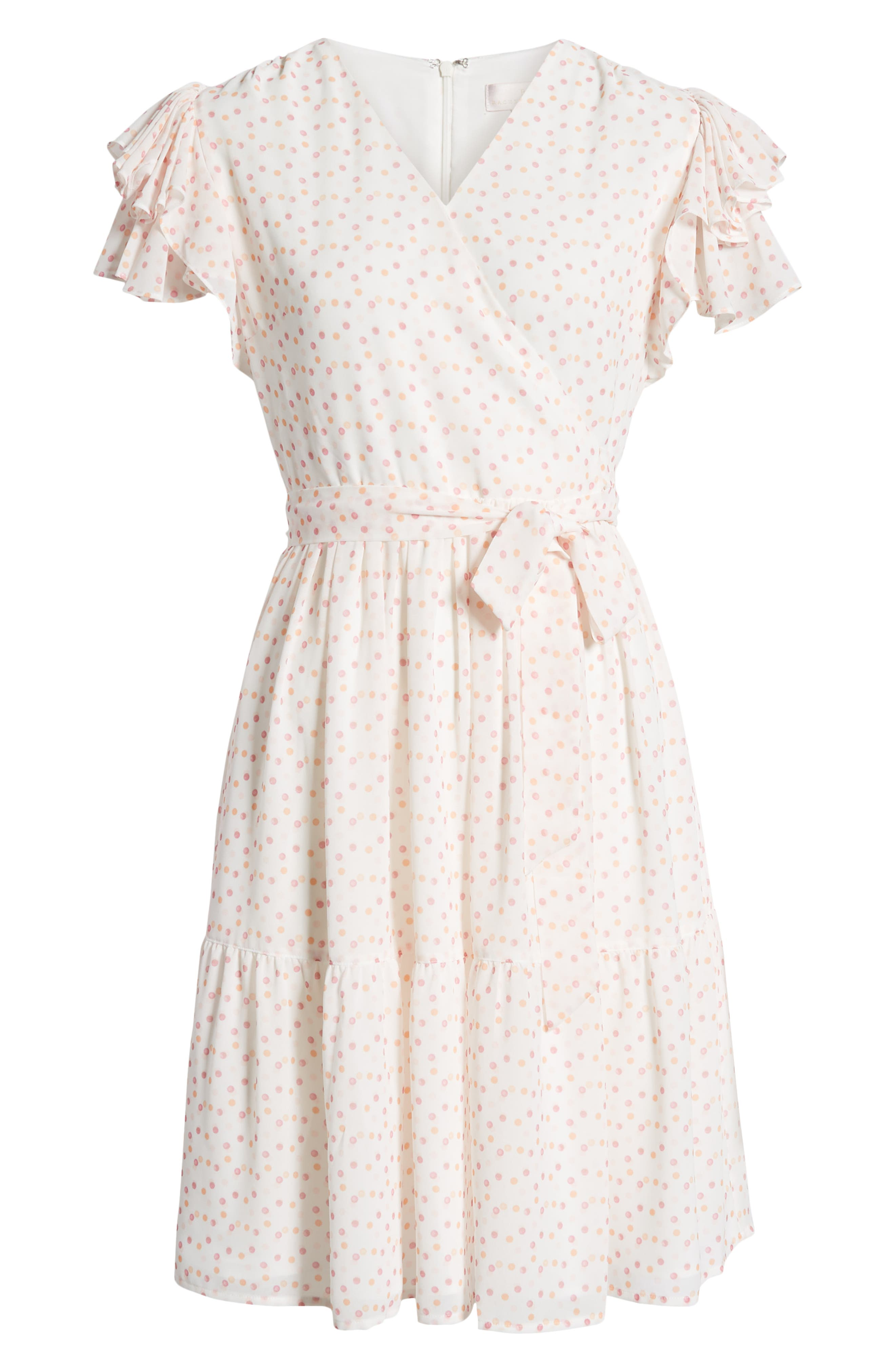 ,                             Tiered Ruffle Sleeve Dress,                             Alternate thumbnail 8, color,                             WHITE PAINTED DOT