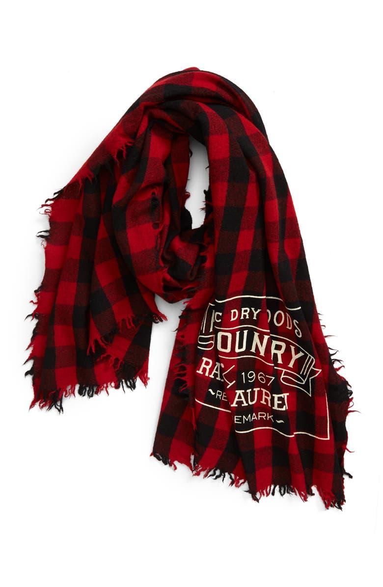 POLO RALPH LAUREN Country Buffalo Check Wool Scarf, Main, color, 620