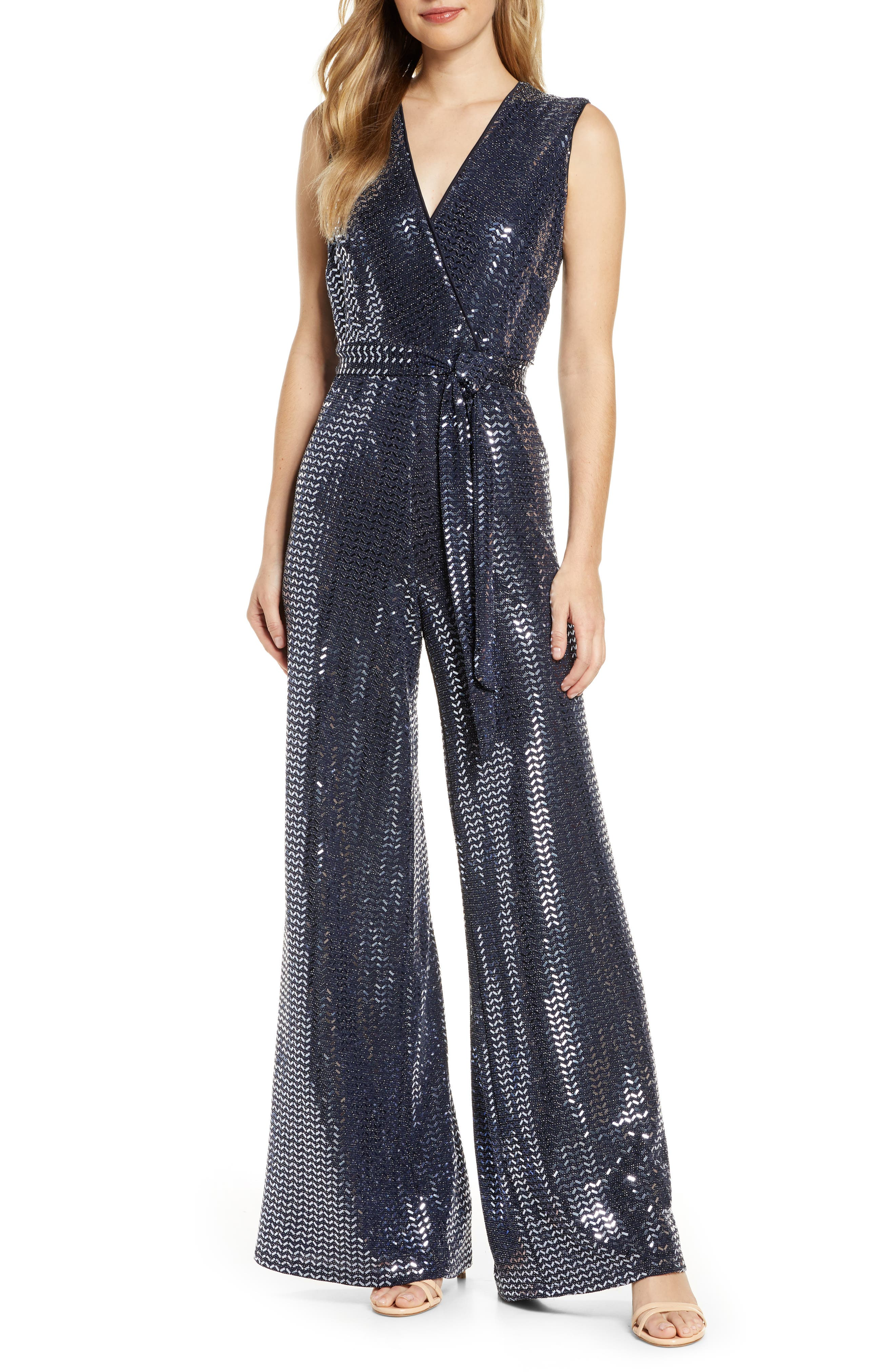 Vintage High Waisted Trousers, Sailor Pants, Jeans Womens Donna Ricco Sequin Sleeveless Wide Leg Jumpsuit $55.20 AT vintagedancer.com