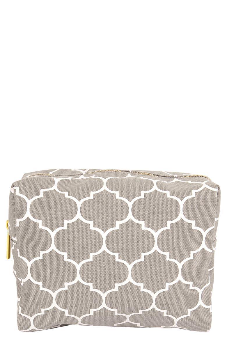 CATHY'S CONCEPTS Monogram Cosmetics Bag, Main, color, GREY