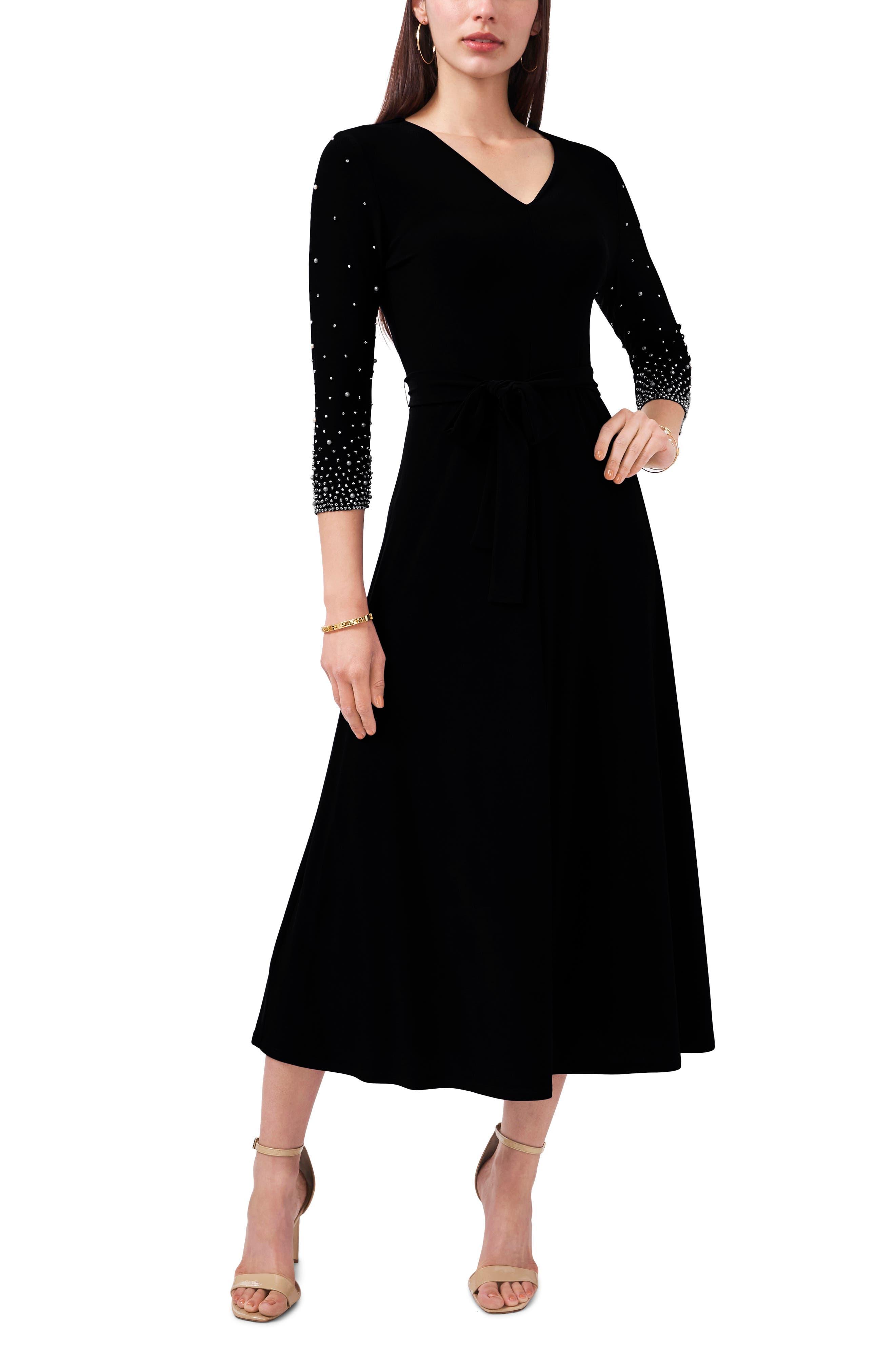 Beaded Sleeve Stretch Knit Dress