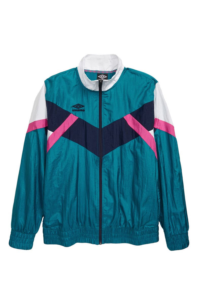 UMBRO Retro Wind Zip Jacket, Main, color, TEAL/ NAVY