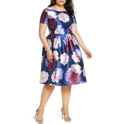 Plus Size Chi Chi London Curve Ally Floral Satin Cocktail Dress, Blue