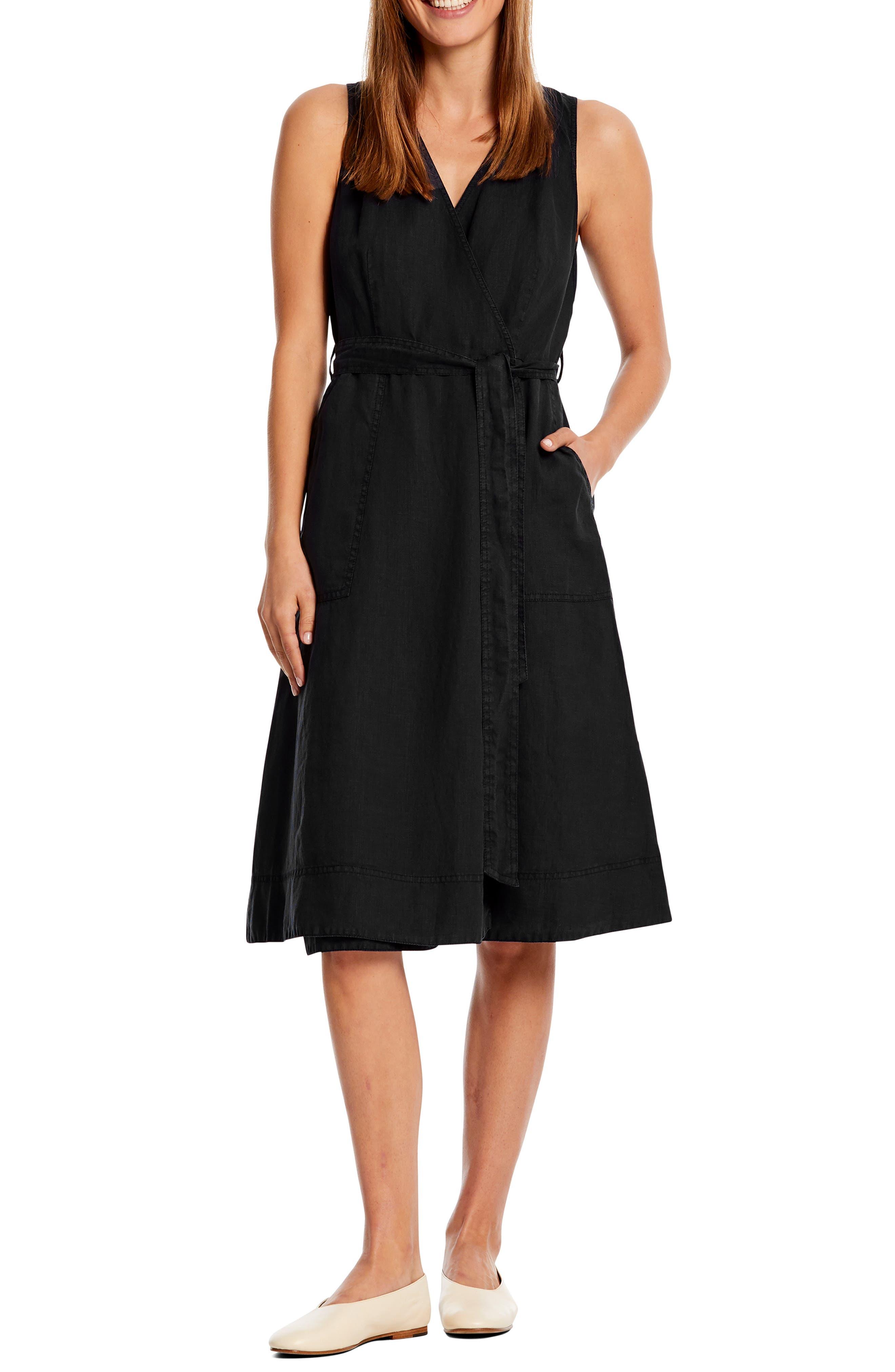 Michael Stars Lenox Linen Wrap Dress, Black