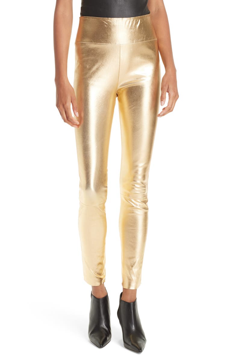 SPRWMN High Waist Leather Ankle Leggings, Main, color, GOLD