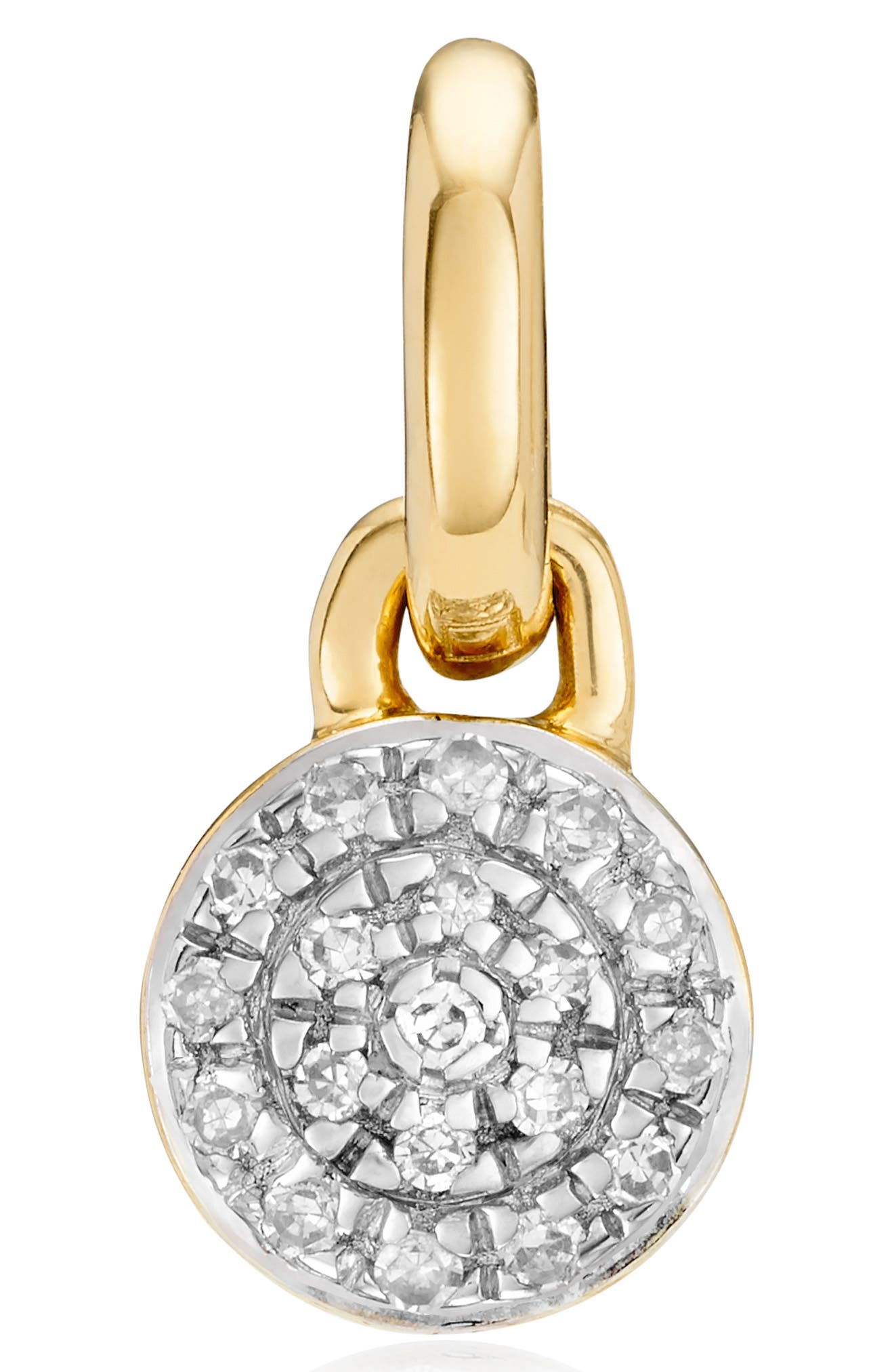 Designed to add to your chosen Monica Vinader chain, sold separately, this lovely and delicate round pendant sparkles bright with 19 pave diamonds. Style Name: Monica Vinader Fiji Mini Diamond Button Pendant Charm. Style Number: 5692425. Available in stores.