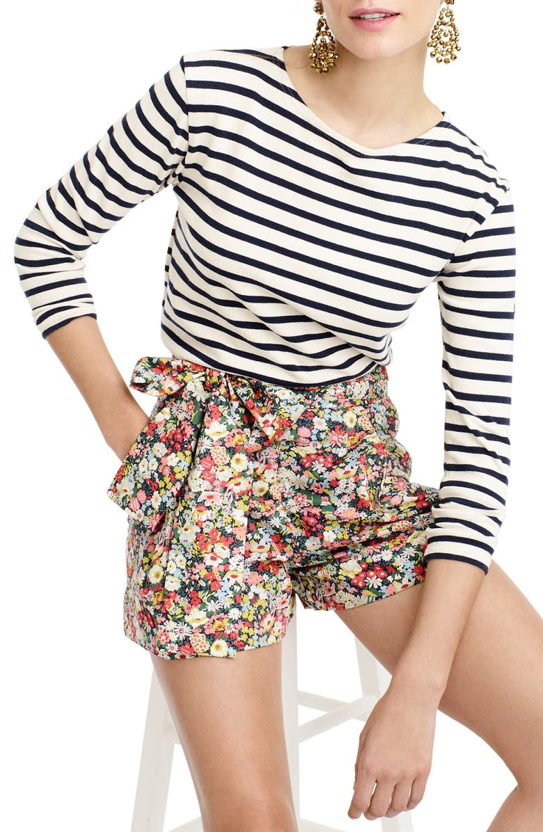 J.CREW Floral Tie Waist Shorts, Main, color, 400