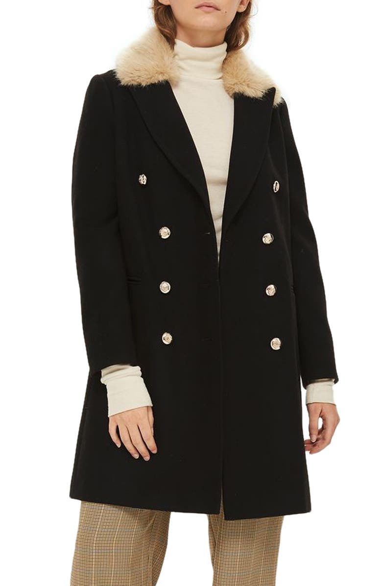TOPSHOP Nina Faux Fur Collar Double Breasted Coat, Main, color, 001