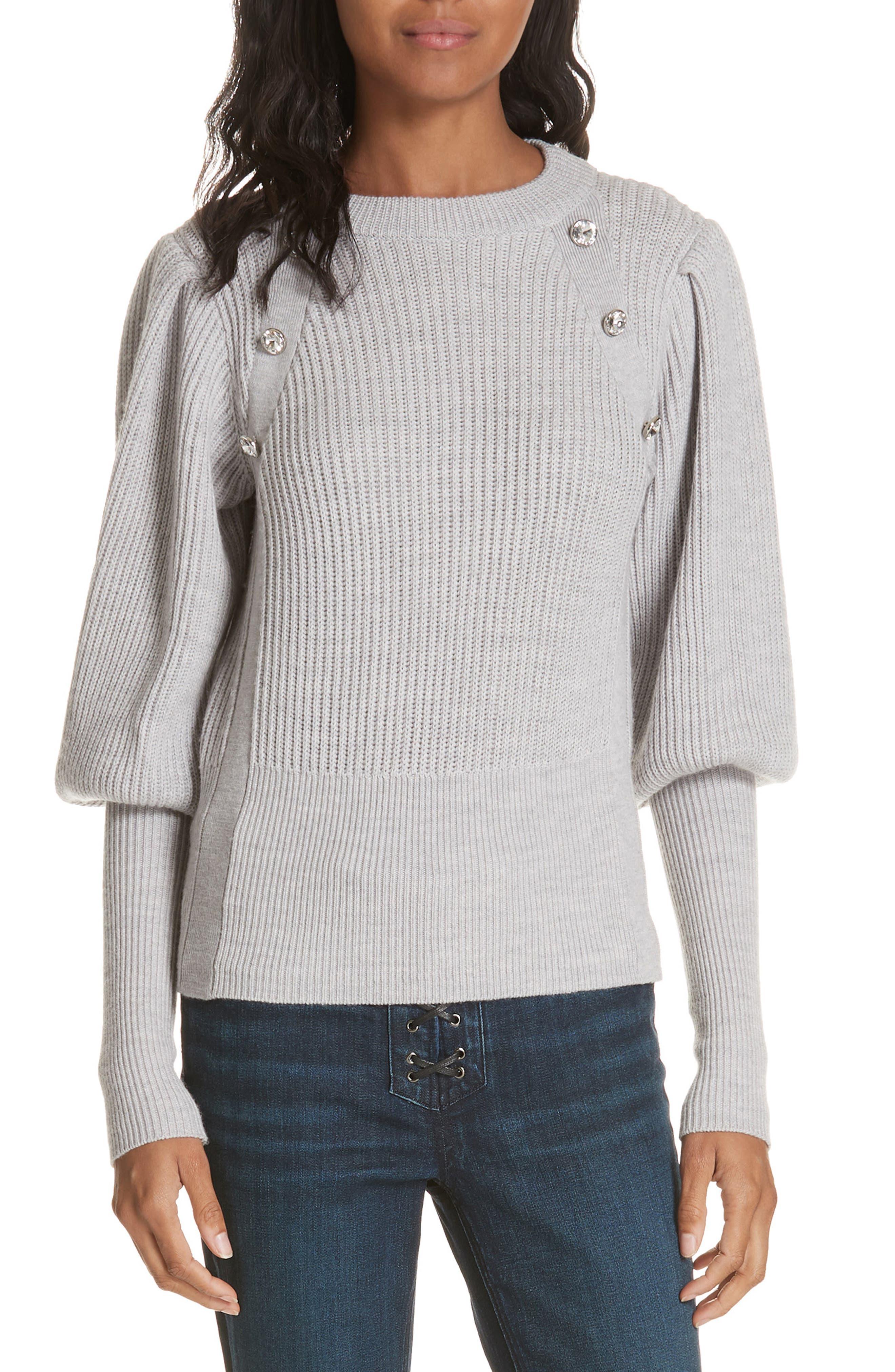 Jude Crystal Button Merino Wool Sweater, Main, color, LIGHT GREY
