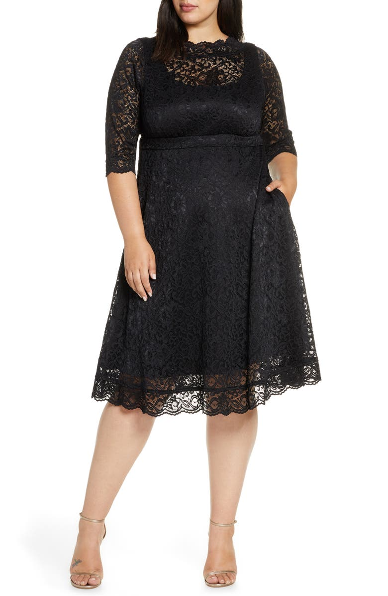 KIYONNA Lacy Cocktail Dress, Main, color, ONYX