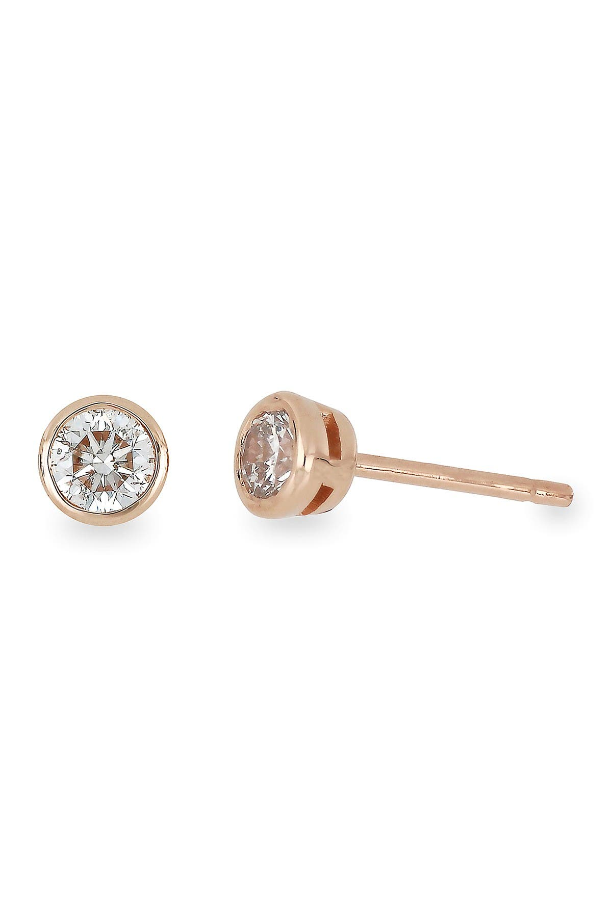 Image of Bony Levy 14K Rose Gold Bezel Set Diamond Stud Earrings - 0.25 ctw