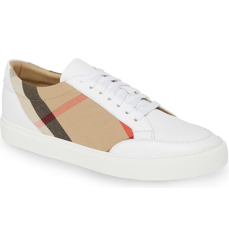 BURBERRY Salmond Sneaker, Main, color, OPTIC WHITE