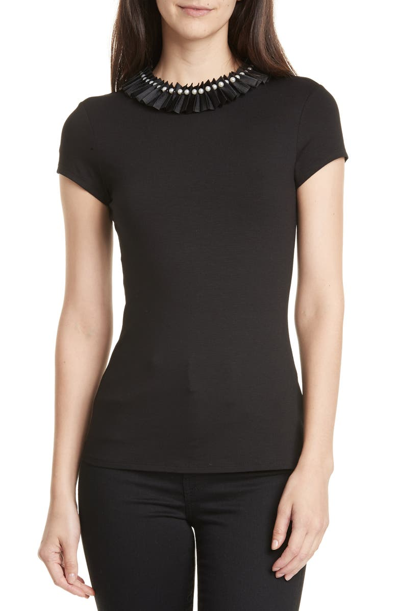 TED BAKER LONDON Nikita Embellished Neck Fitted Top, Main, color, BLACK